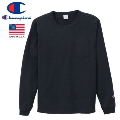 CHAMPION T1011 LONG SLEEVE T-SHIRT POCKET 【MADE IN U.S.A.】 チャンピオン T1011 ロングスリーブ Tシャツ ポケット NAVY