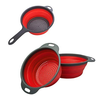 Kitchen Foldable Silicone Strainers-Strainer Set with Handles-3pack Space-Saver Folding Strainers...