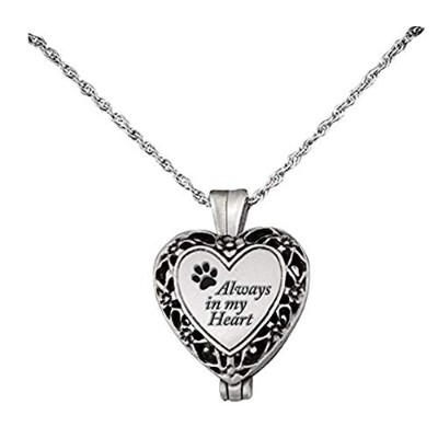 Cathedral Art Pet Memorial Urn Locket-heart Shaped-silver Tone Filigree ... by Cathedral Art