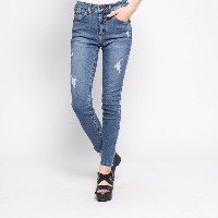 ゲス GUESS DAMAGED 1981 SKINNY DENIM PANT (MEDIUM BLUE)