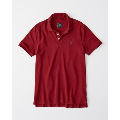 Abercrombie&Fitch (アバクロンビー&フィッチ) ストレッチ 鹿子 ポロシャツ (Stretch Icon Polo) メンズ (Red) 新品