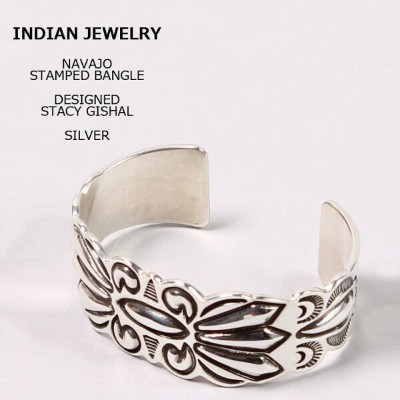 INDIAN JEWELRY (インディアンジュエリー) STAMPED BANGLE STACY - GISHAL - SILVER シルバーバングル メンズ