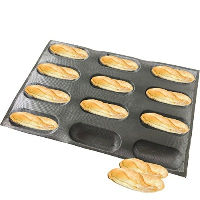 (12 Caves 17cm Hot Dog Shape) - Bluedrop Silicone Eclair Moulds Oblong Shape Bread Forms Hot Dog...
