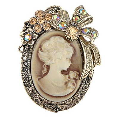 Alilang Vintage Inspired Crystal Rhinestone Victorian Lady Cameo Brooch Pin Maiden Flower Ribbon...