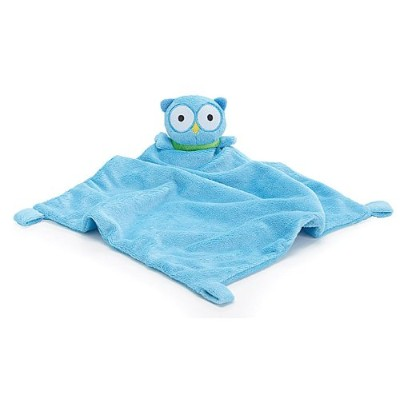 Adorable Soft Blue Security Blanket with Plush Owl For Baby or Toddler by Burton & Burton