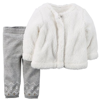 Carters Baby Girls 2-Piece Sherpa Top & Sweater-Knit Pant Set Ivory 12M by Carter's
