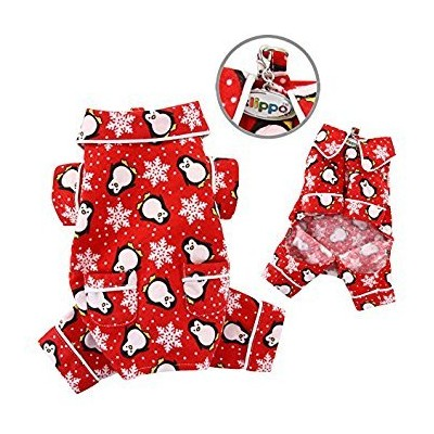 Adorable Penguins & Snowflake Flannel Pajamas (Red) - X-LARGE by Klippo Pet
