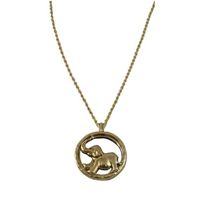Gold Toned Elephant Magnifying Glass Pendant with Extra Long Necklace, 33 inches