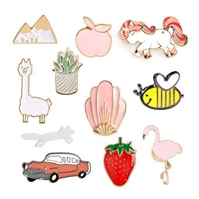 MJartoria Car Flamingo Alpaca Novelty Cartoon Enamel Brooch Pin Set