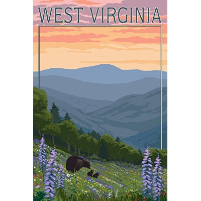 West Virginia – Bear And Spring Flowers 12 x 18 Signed Art Print LANT-50128-708