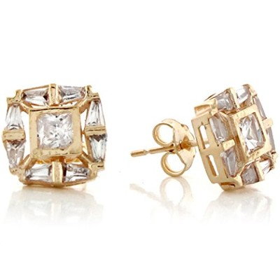 14 KイエローReal Gold White CZ Square Post Fancy Womensイヤリング