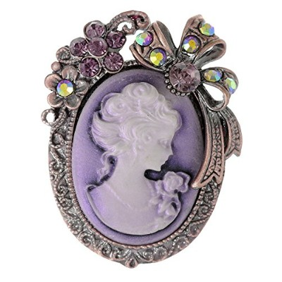 (Purple) - Alilang Old Style Crystal Rhinestone Cameo Maiden Flower Ribbon Bow Pin Brooch