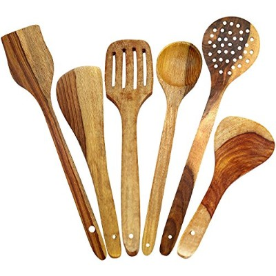 ITOS365 Handmade Wooden Spoons for Cooking and Serving Kitchen Tools, Set of 6 by ITOS365