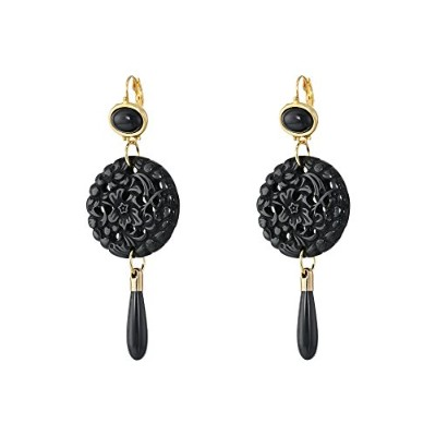 Kenneth Jay Lane Small Top / Round Carved Bottom w / Drop Earringsブラックイヤリング