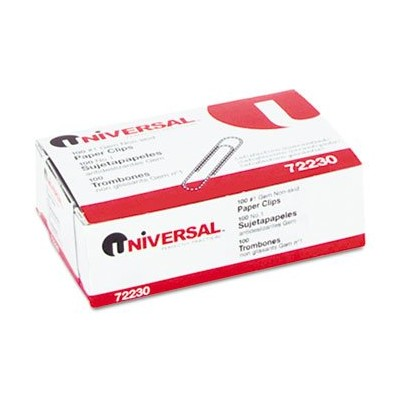 Nonskid Paper Clips, Wire, No. 1, Silver, 100/Box, 10 Boxes/Pack (並行輸入品)