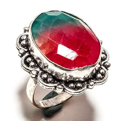 Pretty Faceted Bi-Color Agate Gemstone Ring Handmade 925 Sterling Silver Plated Jewelry -Statement...