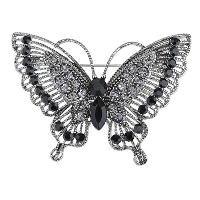Antique-Inspired Violet Silver Tone Crystal Rhinestones Butterfly Pin Brooch