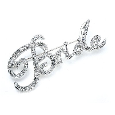 Mariell Crystal Rhinestone Bride Brooch Pin in Script Lettering - Bachelorette & Bridal Shower Gift!