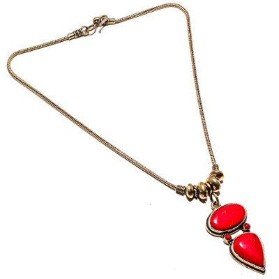 Wonderful Red Coral Gemstone Necklace Handmade Gold Plated Brass Jewelry -Indian Necklace - (SF...