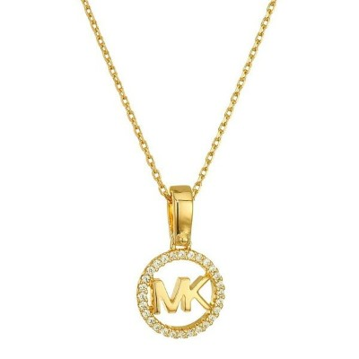マイケルコース ネックレス Michael Kors Custom Kors Sterling Silver Logo Starter Necklace (Gold) MK ロゴ ネックレス ...