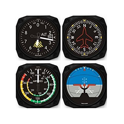 Classic Airplane Instrument Coasters Set of 4 by Trintec