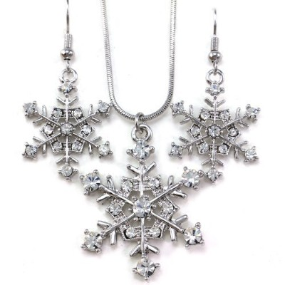 (Clear) - SoulBreezeCollection Winter Snowflake Pendant Necklace Earrings Bridal Wedding Bridesmaid...
