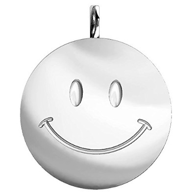 Extra Large Happy、Smiley Face Charm In Sterling Silver