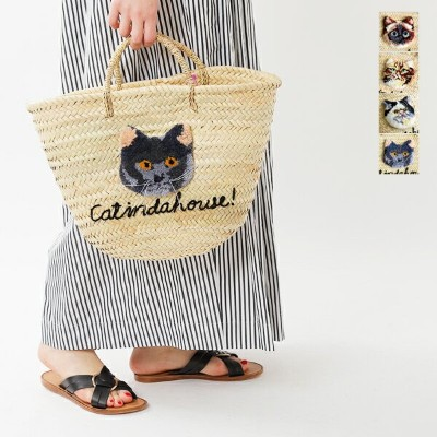 【30%OFF】CAT IN DA HOUSE!(キャットインダハウス)ネコ刺繍カゴバッグ cat-face-cago-large-mm