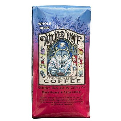 Raven's Brew Wicked Wolf Whole Bean Coffee, Dark Roast - Full Body of Currant and Spice,12 Ounce...