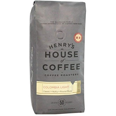 """Henry's House Of Coffee """"Colombia Light"""" Medium Roasted Whole Bean Coffee - 1 Pound Bag"""