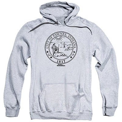 Trevco Parks & Recreation-Pawnee Seal Adult Pull-Over Hoodie, Athletic Heather - Large
