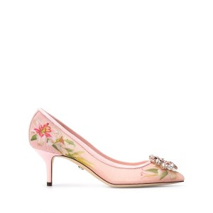Dolce & Gabbana lily print pumps with brooch - ピンク