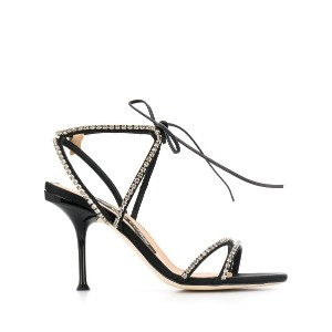 Sergio Rossi crystal strappy sandals - ブラック