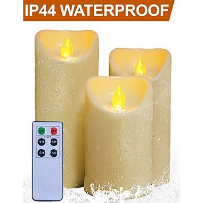 (SET of 3 Candles - 13cm /15cm /18cm Tall - Remote & Timer, Cream - Oblique Edge - Realistic...