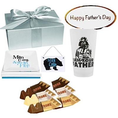 Father's Day Star Wars Gift Set with I am Your Father Glass, Man Cave Plaque and Coin Tray -...
