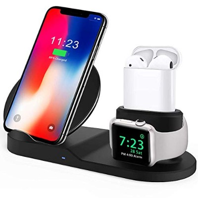 XMNX-WW Qi ワイヤレス充電器 急速 3 in 1充電スタンド apple watch スタンド Airpods/Apple Watch充電器 iPhone X/XS/XR/XS Max/...