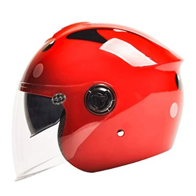 WangY ABS子供用ヘルメット電動オートバイ自転車四季ダブルレンズハーフヘルメット多色 (Color : Red, Size : L30xH22CM)