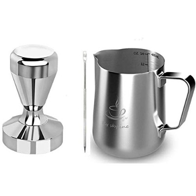 (410ml+58Tamper) - Milk Frothing Pitcher Stainless Steel Measurement Inside the frothing Cup with...