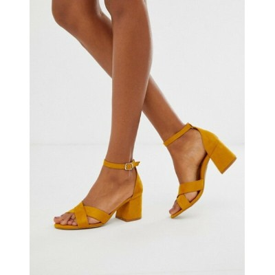プルアンドベアー レディース サンダル シューズ Pull&Bear block heel sandal with cross front in mustard Yellow