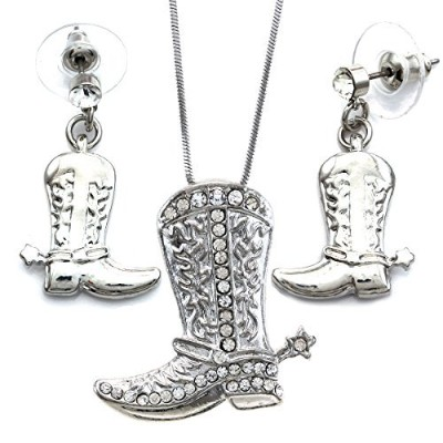 Lucky Western Cowboy Boots Charm Pendant Necklace & Earrings 2-piece Set High Polish Silver Tone...