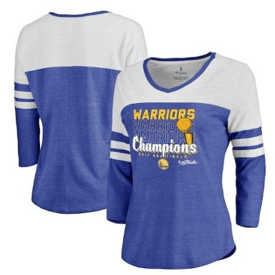 Fanatics Branded Golden State Warriors Women's Heathered Royal 2017 NBA Finals Champions Repeat 3/4...