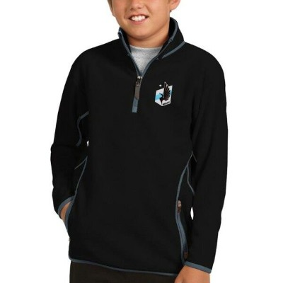 アンティグア Antigua Minnesota United FC Youth Black/Gray Ice Quarter-Zip Pullover Jacket キッズ
