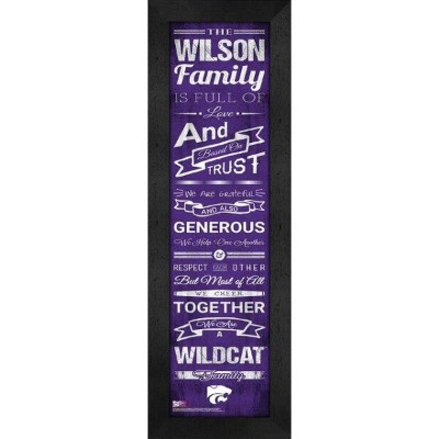Kansas State Wildcats Personalized Family Cheer Framed Print ユニセックス