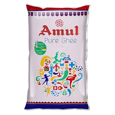 Amul Pure Ghee Pouch, 1 litre (905 grams) - アムールピュアギーポーチ、1リットル(905グラム) - India - Vegetarian - 並行輸入品