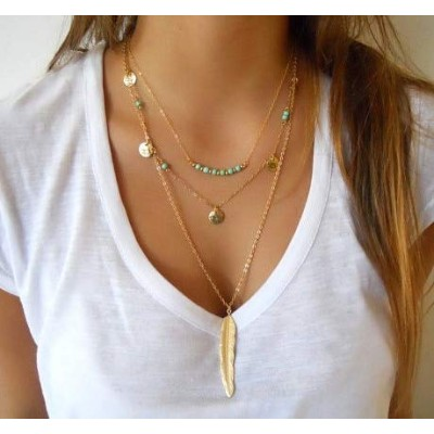Onderroa - Fashion Gold Color Multilayer Coin Tassels Lariat Bar Necklaces Beads Choker Feather...
