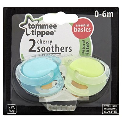 Tommee Tippee Cherry Soothers 0-6mth+ (2 per pack) トミーtippee桜おしゃぶり0-6Mth + (パックあたり2 )