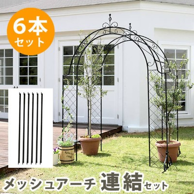 ACB-5796 メッシュアイアンアーチ 連結用ポール6本セット【送料無料】 アイアンアーチ 門 木製 バラ 薔薇 フェンス ガーデンアーチ おしゃれ 小型 北欧 ガーデニング 屋外 家具 ツタ 蔦...