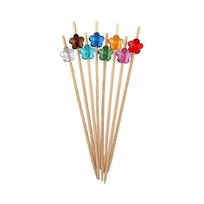 BambooMN Brand - Decorative Acrylic Flower End Bamboo Picks 4.7 (12cm) - 100pcs, Eight Assorted...