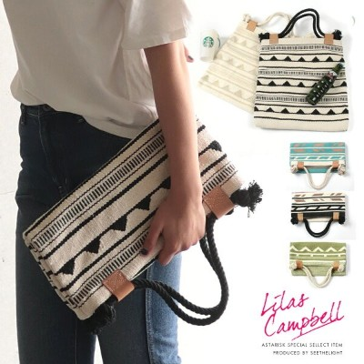 【SALE】LilasCampbell リラキャンベル ハンドメイド 2WAY クラッチバッグ トート オルテガ ネイティブ レディース 女性 リゾートギフト プレゼント クリスマスプレゼント