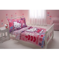 サンリオ ハローキティ 寝具 4点セット Sanrio 4 Piece Toddler Bedding Set, Hello Kitty Modern Garden